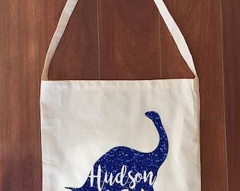 Custom Calico Library Bag Dinosaur