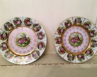 4 Vintage Arnart Decor Carlsbad Bavaria Collectible Plate, Love Story, Royal Vienna