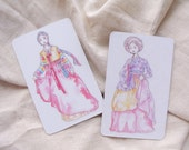 Korean Hanbok Card Mirror - Watercolor Illustration Print, pocket mirror, hand mirror, Korean historical drama, K-Drama, Gisaeng