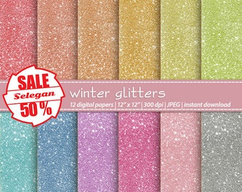 "SALE 5O% "" Winter Glitters "" Digital Paper, Scrapbooking, Paper, 12x12, Printable, Glitter, Lighting, Pattern, Blink, Texture,Sparkle,Winter"