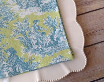 Waverly Green and Blue Toile, 12x12 Cotton Napkins, Set of 6