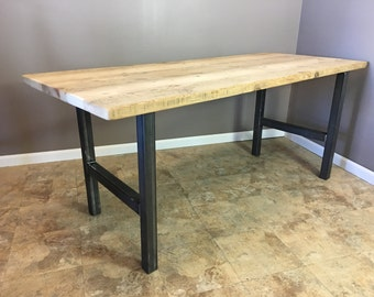 Barn wood dining table, modern legs, reclaimed,H LEGS FAST SHIPPING