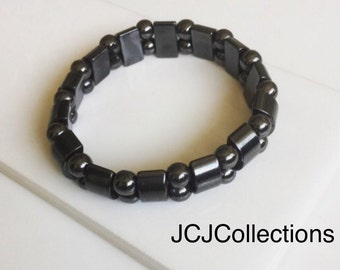 Hematite Bracelet, Magnetic Stretch Hematite