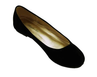 Narrow Fit Black Velvet Hidden Wedge Ballerina Ballet Flat Shoes Secret Heel Lift UK Size 3 4 6