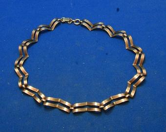 Vintage Symmetalic Sterling and 14k Art Deco Chevron Choker Necklace