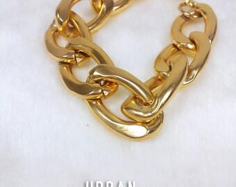 Modern Gold Chain Bracelet, Chunky Chain Bracelet, Statement Gold Bracelet, gold urban bracelet