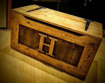 Solid Wooden Pine Rustic Toy Box, Blanket box, Chest, Ottoman with personlaistion