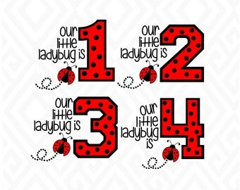 Little LadyBug Birthday Years 1-4; SVG, DXF, EPS, Ai, Png and Pdf Cutting Files for Electronic Cutting Machines
