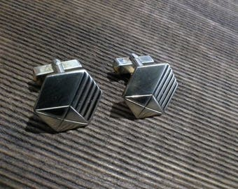 Vintage Mid Century Modernist Retro Anson Gold Tone Cufflinks Cuff Links Art Deco Geometric Box