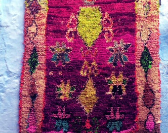 "BOUCHEROUITE RUG | Moroccan Rug | Vintage Rug | Rag Rug | Tapestry | Art | 6'3""ft x 4'6""ft"
