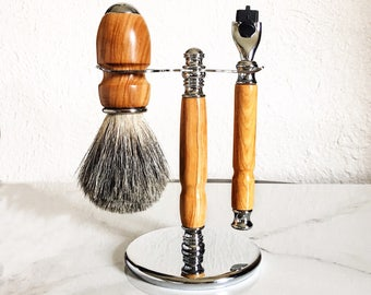 Handmade 3 Piece Shaving Set, Olivewood Shaving Kit,  Razor and Badger Brush Set, Grooming, Gift for Him, Fathers Day Gift, Graduation Gift