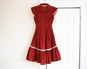 60s Vintage Rust Red Corduroy and Lace Dress <> Women's est. S-M <> Leo New York <> Flutter Sleeves Tie Waist Full Circle Skirt