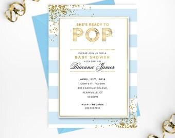 Baby Shower Invitation, Baby Boy Printable Baby Shower Invite, Gold Blue Baby Shower Printable Invitation, Custom Boy Baby Shower Invite
