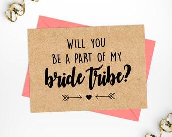 Will you be my Bridesmaid Kraft Printable Card, Bride Tribe Kraft Printable Card, Bridal Party Printable Card, Bridesmaid Kraft Bridal Card