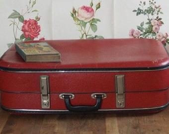 Vintage Red Expandable Suitcase , lovely to use for storage. Retro, shabby chic, vintage luggage,boho, Old Suitcase/