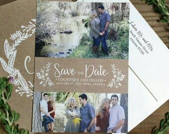 PRINTED Country Rustic Wedding Save-The-Date w/Envelope | Kraft Brown Paper Font Names Romantic Elegant | With RETURN ADDRESS Printing!
