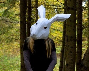 Hare mask, Rabbit mask, Bunny mask, Instant Pdf download, Papercraft Party mask, Printable Mask, Paper Mask, 3D Pattern, Polygon Masks
