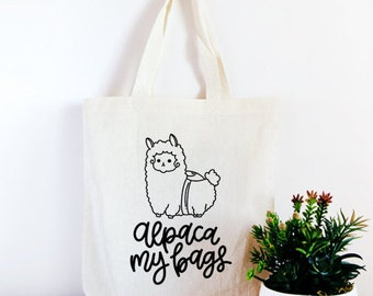 Alpaca My Bags Cotton Canvas Tote Bag, Funny Tote Bag, Birthday Gift,  Hand Lettered, Craft Tote, Quote Tote, Shopping Bag, Travel Bag