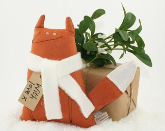 Fox Soft Toy Animal, Toy Fox Hand-Embroidered Art Doll, Orange Linen Fox with Cream Scarf, Kids Toy, Stuffed Toy Animal, Gift for Kids