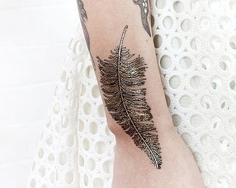 Temporary Tattoo Illustrated  Bird Feathers Paperself Festival Wear Colorful Black Gold Foil Artistic Detailed Ornamental Nature Fashion