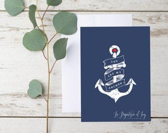Carte imprimable de Saint Valentin, ANCRE, SAINT VALENTIN Romantique , bleu,blanc,rouge, coeur