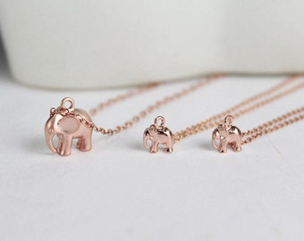 Rose Gold Elephant Necklaces set .Mother Daughters Set 1,2,3,4, Rose Gold Elephant Jewellery.Babe elephant.Matching jewelryFamily Jewelry