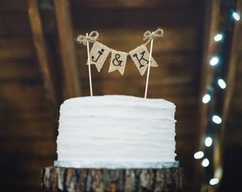 Rustic Wedding Cake Topper, Personalized Wedding Cake Topper, Burlap Wedding Cake Topper, Rustic Cake Topper, Wedding Cake Topper, Rustic