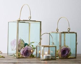 Small Brass Candle Holder / Small Brass Lantern / Wedding Table / Wedding Decor / Wedding Candle Holder / Small Wedding Decor / Aisle Runner