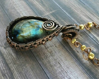 Green flash Labradorite, blue flash Labradorite copper wire wrapped Pendant- yellow Labradorite