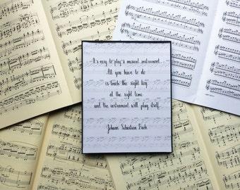 Composer Quote Art Print // J. S. Bach Quote Art Print // Musical Art // Music Teacher Art // Practice Room, Music Room Art / Music Gift