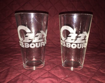 2 Hand Etched Ozzy Osbourne Glasses!