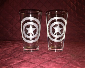 2 Hand Etched Captain America Pint Glasses!