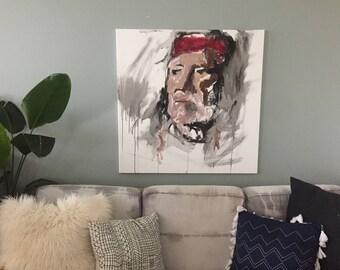Willie Nelson Inspired Portrait Print