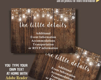 Printable Insert card, Rustic wood RSVP, Information, Details and/or Thank you card, Instant Download, Self Editable PDF file IC104