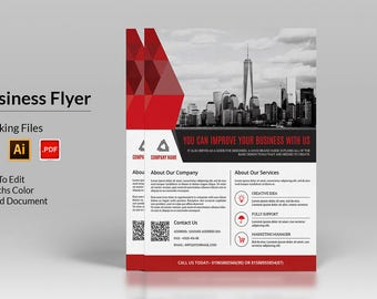 Corporate Flyer Template | Business Flyer | InDesign & Illustrator Template, Instant Download