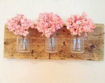 Mason Jars - Wood Mounted Jar - Reclaimed Wood - Handmade - Shabby Chic - Rustic Home Decor - Wall Vase -  Mason Jar on Wood