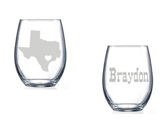 Texas wine glass personalized all states available