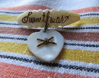 WWII Handmade Mother of Pearl Sweetheart Pin