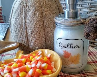 Gather Soap Dispenser / Mason Jar Soap Dispenser / Thanksgiving Soap Dispenser / Kitchen&Bath Soap Dispenser / Hostess Gift / Home Decor