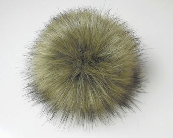 Size XL ( dark beige- black tips ) faux fur pom pom 7 inches /17 cm