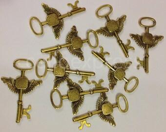 "Santa & Angel Large Keys - 7cm/ 2.75"" - Metal Charms Steampunk Parts Jewellery for Christmas"