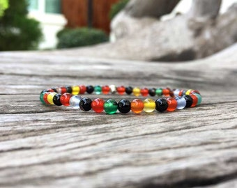 4mm Colorful Agate Stone Bracelet, Beaded bracelet, Beadwork bracelet, Stretch Bracelet, Gemstone Bracelet, Stone Bracelet, Women Bracelet