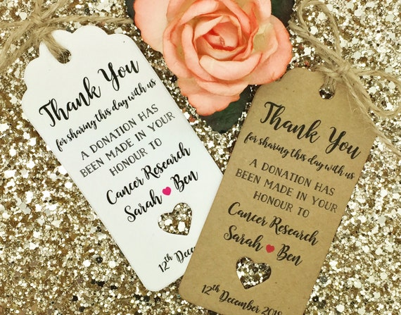charity donation gift tag wedding favour guest label. Black Bedroom Furniture Sets. Home Design Ideas