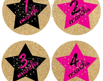 Baby Monthly Onesie Stickers, Hot Pink, Gold and Black Onesie Stickers, Monthly Baby Stickers, Pink, Gold, and Black Stars