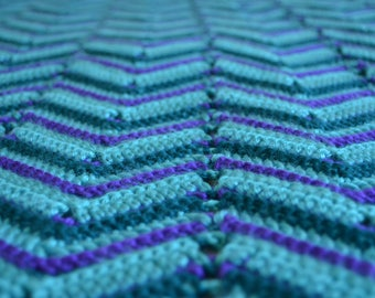 Blue and Purple ZigZag Crochet Throw Blanket