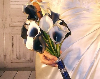 Navy blue Calla Lily Bouquet, Midnight Wedding Bouquet, pageant bouquet, navy picasso bouquet, Prom Flowers, Ready to Ship