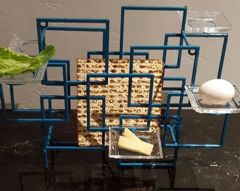 "Passover Seder Plate ""Blue Modern"""