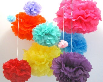 Tissue paper pom poms, party decorations, 5 sizes and 20 colours for Valentines Day, birthday, wedding, baby shower, backdrop centrepiece