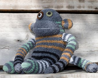 Handmade plush monkey, sock monkey with button eyes (grey, striped)