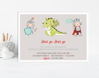 Knight Invitation, Knight Birthday Invitation, Boys Birthday Invitation, Knight & Dragon Invitation, Printable Invitation, Knight Party